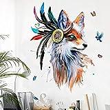 Stil, handbemalt, Wolfskopf, Wandsticker, Feder, bunt, Schmetterling, Vögel, Wandbild, 60 x 90 cm