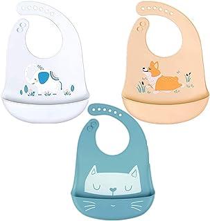 Voarge Silikonowy śliniaczek dla niemowląt, wodoszczelny, łatwy do czyszczenia, nadaje się do prania, elastyczny i miękki ...