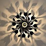 BQYY LED Wohnzimmer Wandleuchte Metall Kinderzimmer Blume Wandlampe Modernes Acryl Nachttisch Hintergrundwand Dekoration Wandbeleuchtung Für Babyzimmer Flur Treppenhaus Effektlampe -E27 Schwarz