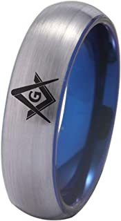 Silver Dome and Blue Inside, 7 Free Custom Engraving 8mm Width CTR Spanish HLJ Ring Black Pipe or Silver Brushed Dome and Blue Inside to Choose