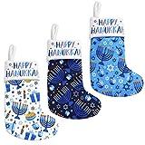 Vansolinne Hanukkah Stockings Set of 3 Chanukah Hanging Stocks Holiday Plush Socks Gift Bags for Mental, Fireplace Hanging Ornament Xmas Decorations