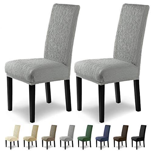 SCHEFFLER-Home Jara 2 Fundas de sillas, Estirable Cubiertas, Moderna extraíble flexibel Funda con Banda elástica, Gris