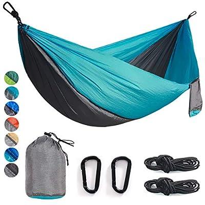 Double & Single Camping Hammock Nylon Portable Parachute Lightweight for Backyard, Hiking, Beach (Gray/Sky Blue, Double)