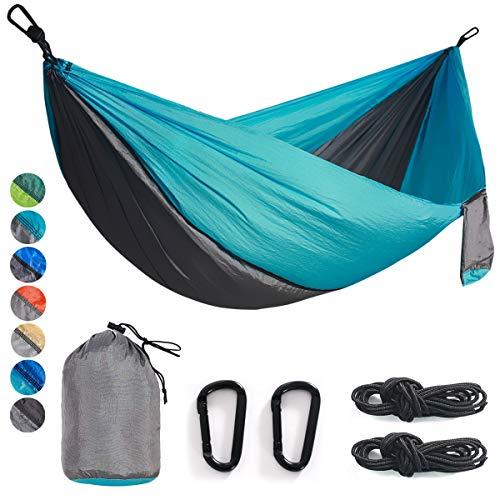Double& Single Camping Hammock Nylon Portable Parachute Lightweight for Backyard, Hiking, Beach