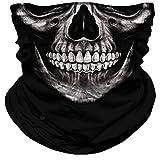 Skull Face Mask Dust Wind Sun Protection Seamless 3D Tube Mask Bandana for Men Women Durable Thin Breathable Skeleton Mask Motorcycle Riding Biker Fishing Cycling Sports (Grey skull)