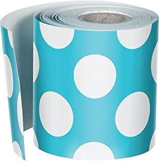 Schoolgirl Style Rolled Straight Borders, Teal with Polka Dots (108327)
