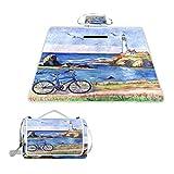 LZXO - Manta de pícnic, plegable, diseño de faro del océano, para bicicleta, tamaño grande de 57 x 59 pulgadas, impermeable, práctica esterilla compacta para exteriores