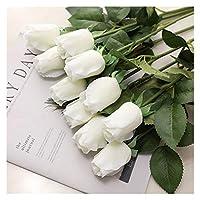造花 1ピースローズフラワーバンドルシルクローズ造花 (Color : White)