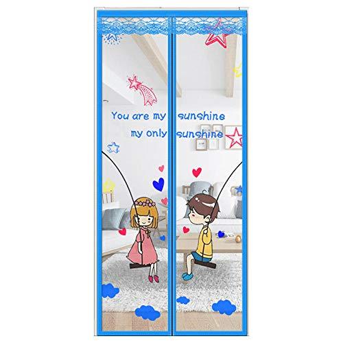 ZJXSNEH Cortina De Puerta Doble Cortina Antimosquitos De Tela De Encaje Dormitorio De Verano Y Sala De Estar Infancia Azul 120X210CM