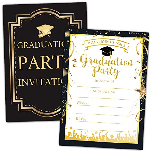 Graduation Party Invitations with Envelopes - 2020 Graduation Announcement Cards, Graduation Party Decoration - 30 Cards with Envelopes(Black)