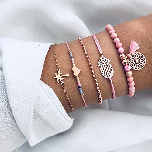 Kercisbeauty 5 stks verstelbare roze touw manchet Bangles gouden armband handketting met droom catcher, hart, ananas hanger cadeau voor haar, partij accessoires, verjaardag