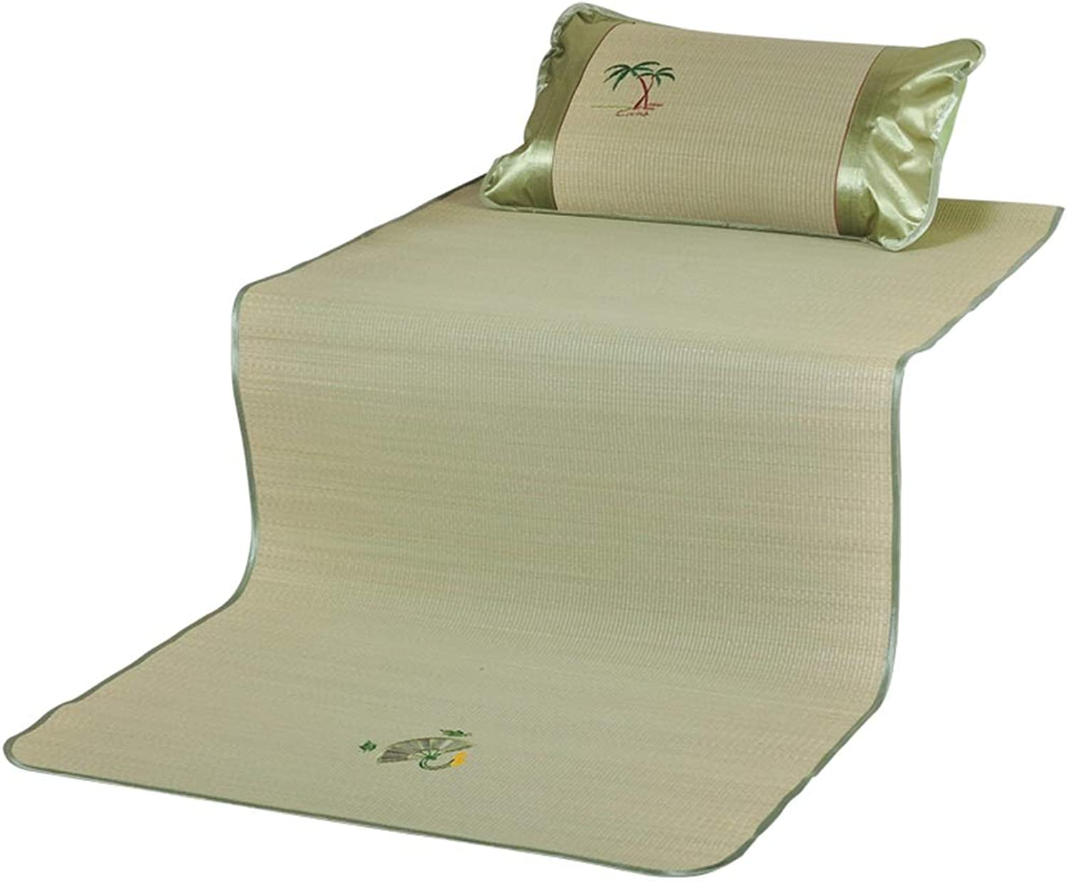 Grass Mat Student Dormitory 90×190cm Summer Mat Single Bed 0.8m Bed Bedroom Mat 1 Meter Wide (Including Pillowcase) (color   Green, Size   100  190cm)