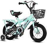YANGHONG-Bicicleta de montaña deportiva- Montaña Bikefor Kids, Boys Girls Sosteny Bicycle con Ruedas de Entrenamiento y Cesta, Bicicleta para niños de acero altos de carbono 2-12 años 14 pulgadas de 1