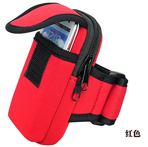 Woderful Sports Running Mobile Phone MP3 Wallet Holder Arm Package Hiking Exercise Bag for iPhone 6/6S Plus Arm Package/Bag 5.Inch (Red)