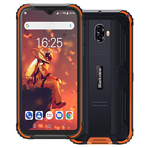 Blackview BV5900 IP69K Outdoor Handy Ohne Vertrag 5,7 Zoll HD+ Waterdrop Display 13MP+5MP Kameras 5580mAh Akku Helio A22 3GB+32GB 4G Robustes Smartphone (Orange)