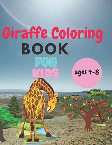 Giraffe Coloring Book for Kids Ages 4 8 8 5 x 11 inches wild animals images coloring book for product image