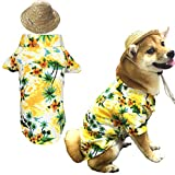 Hawaiian Pet Dog T-Shirt Summer Camp Clothes Apparel with Straw Hat for Small Medium Large Dog Puppies Cats X-Small