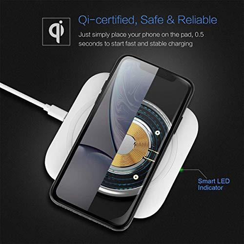 Hoidokly Wireless Charger 10W Kabelloses Ladegerät Qi Ladestation Schnellladen für Samsung Galaxy S10/S10+/S9/S8, Huawei P30 Pro/Mate 20 Pro, 7.5W für iPhone 11/11 Pro/XS Max/XR/X/8/8 Plus/Airpods 2 - 5