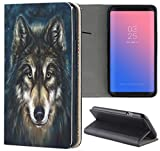 Samsung Galaxy A5 2017 A520 Hülle Premium Smart Einseitig Flipcover Hülle Galaxy A5 2017 Flip Hülle Handyhülle Samsung A5 2017 Motiv (662 Wolf Schwarz Blau)