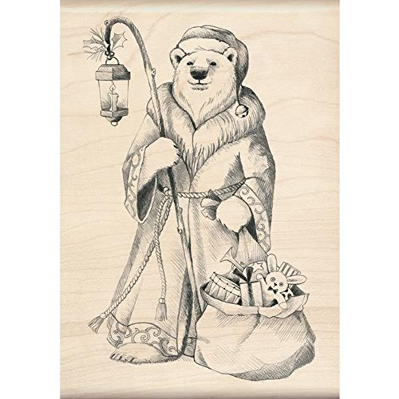 Inkadinkado Wood Stamp, Santa Polar Bear