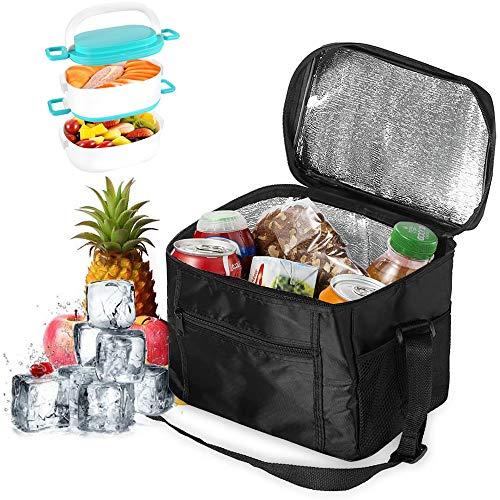 Geneic Faltbare Kühltasche, Picknicktasche, Eisbeutel, Camping-Tasche, Thermobeutel, kleine isolierte Lunch-Kühltasche, für Reisen im Freien, Camping(schwarz)
