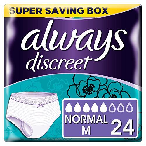 Always Discreet - Culottes pour incontinence / fuites urinaires, Taille M, Format éco x24 (Choix entre 5, 6 et 7 gouttes)