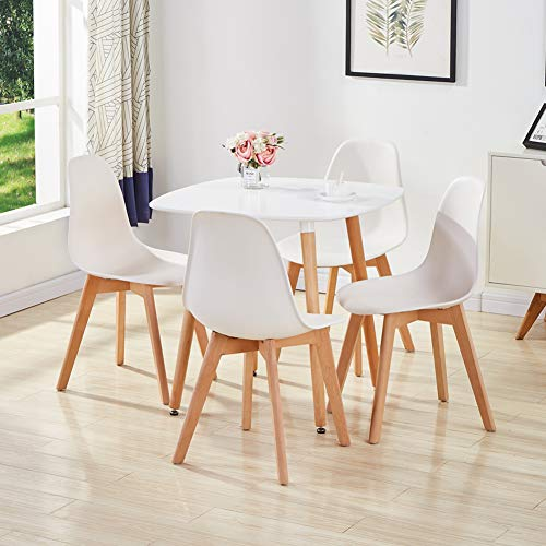 GOLDFAN Esstisch und 4 Stühle Set Modern Dining Set und Weiß Stühle mit Weiß Esstisch Quadratischer Tisch Skandinavisch für Wohnzimmer, Küche