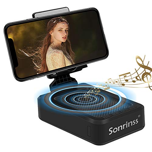 Cell Phone Stand with Bluetooth Speaker, Wireless HD Surround Sound Cell Phone Speakers, Adjustable Phone Holder for Desk, Compatible with iOS & Android Smartphone, Suitable for Indoors, Outdoors