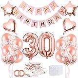 Decoración de cumpleaños 30 en Oro Rosa para Mujeres, Feliz cumpleaños Decoración Globos Guirnalda Banner 30 Años Globos de Confeti y Estrella Corazon Globos de Aluminio