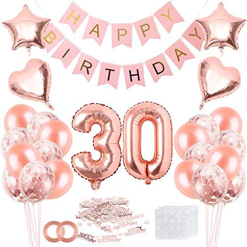 Bluelves Oro Rosa 30 Anni Compleanno Decorazioni per Donna,Palloncini Festone di Palloncini Compleanno Palloncini in Lattice coriandoli Palloncini,Feste per Il Trentesimo Compleanno Adulto
