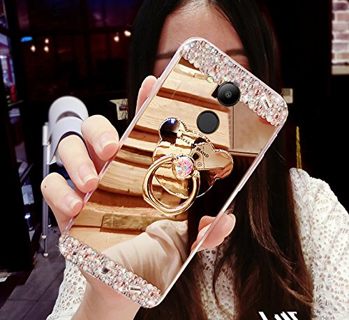 Kompatibel mit Huawei Honor 6C Pro Hülle,ikasus [Bär Ständer] Glänzend Glitzer Strass Diamant Überzug Spiegel TPU Silikon Handy Hülle Tasche Silikon Handyhülle Schutzhülle für Huawei Honor 6C Pro,Gold