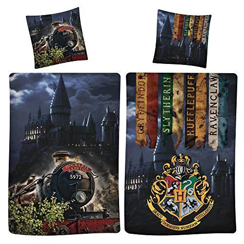 Harry Potter Wende-Bettwäsche Express 9 3/4 135 x 200 + 80 x 80 cm 100% Baumwolle Renforcé-Linon-Qualität mit YKK-Reißverschluss Gryffindor Hufflepuff Ravenclaw Slytherin Hogwarts deutsche Größe