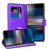 Sony Xperia L3 Lederhülle – Premium Wallet Hülle Leder Flip Cover für Sony Xperia L3 [Kartenhalter] [Magnetverschlus] (Violett)