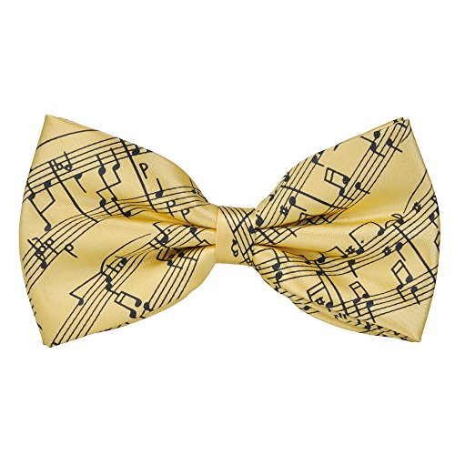 Vorgebundene Fliege mit Musiknoten-Design von Punk, zum Selbstbinden, 6Farben, tolles Geburtstagsgeschenk, für formale Anlässe und Freizeit gelb