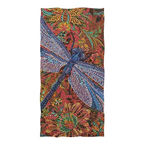 XiangHeFu Asciugamano da Bagno Dragonfly Flower Yoga Shower Altamente Assorbente Ultra Morbido Multiuso
