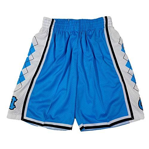 XXJJ Pantalones cortos Jordan North Carolina para hombre, jóvenes, bordados, malla de baloncesto, bolsillos, ventilador, entrenamiento, fitness, baloncesto, uniformes, azul - XL