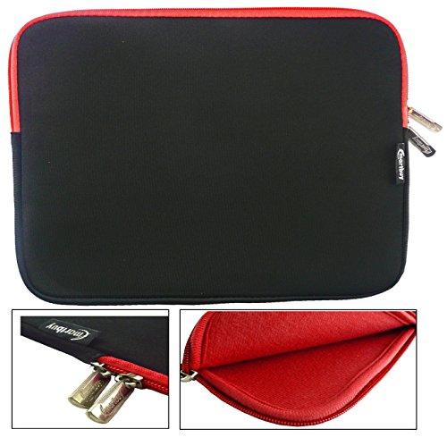 Emartbuy® Schwarz/Rot Wasserdicht Neopren weicher Reißverschluss Kasten Sleeve Mit Rot Interieur&Zip geeignet für Acer Aspire One AO1-131 Cloudbook 11.6 Zoll (11.6-12.5 Zoll Laptop)
