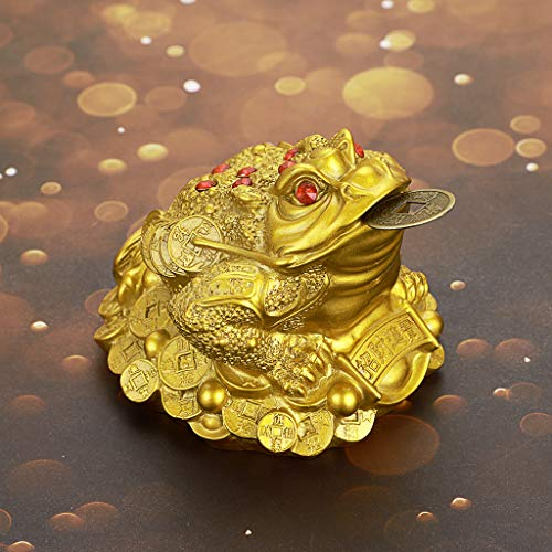 MDLUU Feng Shui Money Frog, Large Money Toad Statue, Three Legged Toad with Coin, Lucky Charm Wealth Frog for Cash Register, Office Desk, House Warming, Store Opening Gift (Gold)