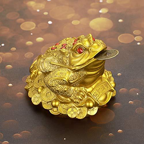 MDLUU Feng Shui - Estatua de Sapo con Moneda, diseño de Rana de Tres Patas con Moneda, para Caja registradora, Escritorio de Oficina, decoración de casa, Regalo de Apertura de Tienda (Oro)