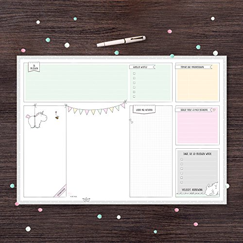 Schreibtischunterlage von Katz und Tinte, DIN A2 aus Papier zum Abreißen, 30 Blatt mit Einhorn,...