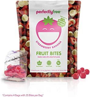 PERFECTLY FREE Fruit Bites - Vegan Fruit Snacks, Gluten Free, Allergy Friendly, Non-GMO, Gelatin-Free Fruit Bites for Kids and Adults (Strawberry Banana) (4 pack)