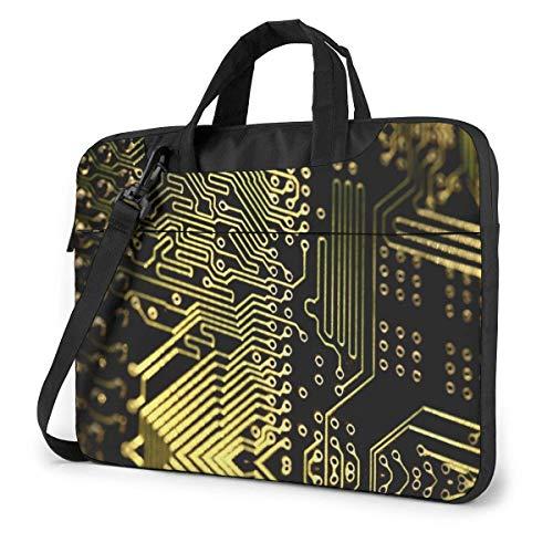 15.6 inch Laptop Tasche Schultertasche Bussiness Messenger Tablet Tasche Laptophülle Abstrakte Computer-Fuzzy-Leiterplatte