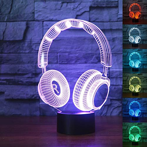 3D Hoofdtelefoon Slideshow Studio Monitor Hoofdtelefoons Hi-Fi Muziek Hoofdtelefoons 3D Nachtlampje Kleur Slaapkamer Tafellamp Huisdecoratie Led