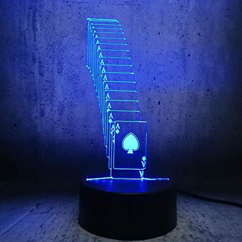Lámpara De Ilusión 3D Luz De Noche Led Creativa Usb Poker Spades Naipes Mago Decoración 7 Cambio De Color Rc Una Palabra Exposición De Lava