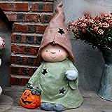 PUgarden Garten Skulptur Witch Magic Shop Anzeige Dekoration Villa Landschaft Außen Garten Kinder Dekoration Miniaturgartenfiguren (Farbe : Grün, Größe : 27x20x47cm)