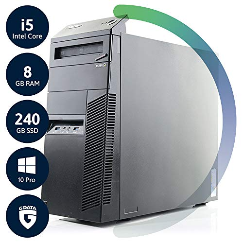 Lenovo ThinkCentre M83 Tower | 3 Jahre Garantie | Intel Core i5 bis 3.2 GHz | 8GB RAM | 240GB SSD | DVD-RW | Win10 Pro | G Data Internetsecurity | Acronis True Image | (Generalüberholt)
