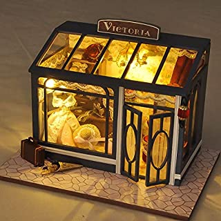 SEPTEMBER 3D Creative Handmade Model Doll House European Vintage Hat Shop with LED and Furniture Set Creative Toy