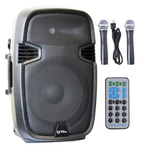 """Ignite 15"""" Pro Series Speaker DJ / PA System Rechargeable Battery / Bluetooth Connectivity 2000W Peak Power"""