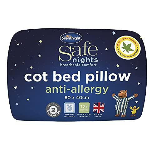 Silentnight Safe Nights Cot Bed Pillow - Anti Allergy Nursery Pillow For Sleeping Children Kids Newborn Baby Babies - Hypoallergenic Machine Washable Baby Shower Gifts