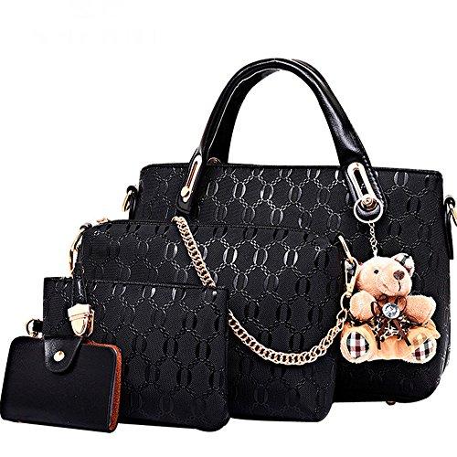 FiveloveTwo Damen 4Pcs Top Griff Satchel Hobo PU Leder Umhängetasche Handtasche Set große Tasche + Geldbörse + Schultertasche + Kartenhalter (Schwarz)